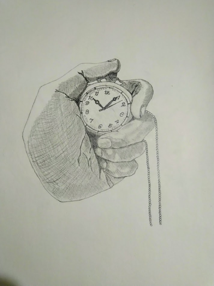 Aesthetic Blasphemy| Self sketch of hand holding a pocket watch in a fist form