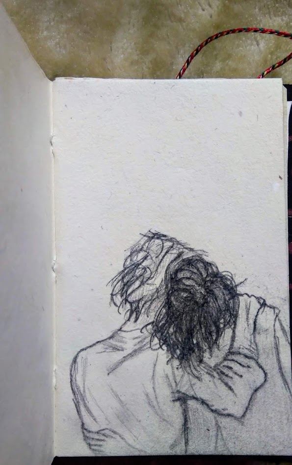 Aesthetic Blasphemy | Sketch of two lovers from behind with their heads resting against each other's